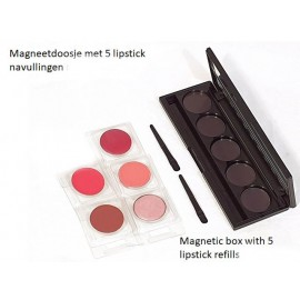 Five lipstickrefills in a magnetic box, Unity Cosmetics