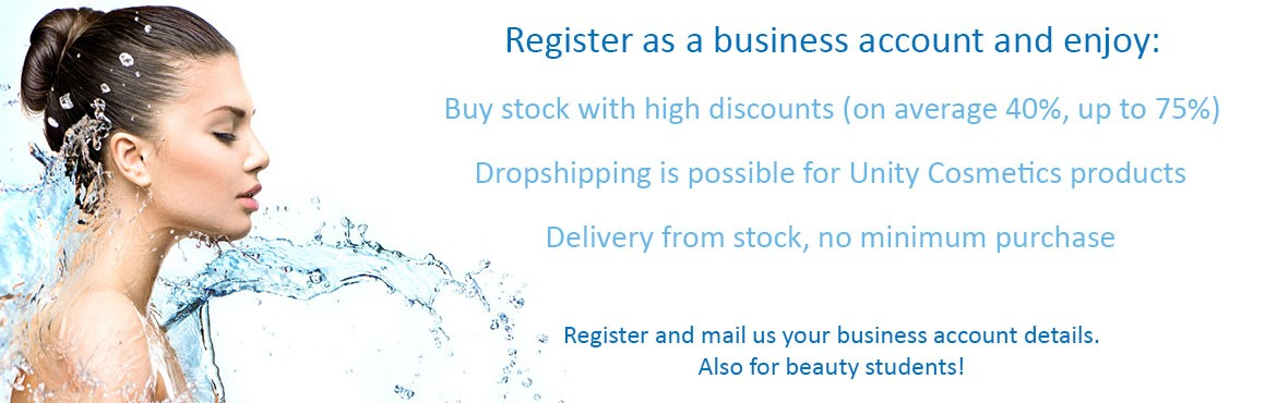Register as a business account and enjoy high discounts on makeup, disposables, skinproducts, brushes, and a lot more interesting products
